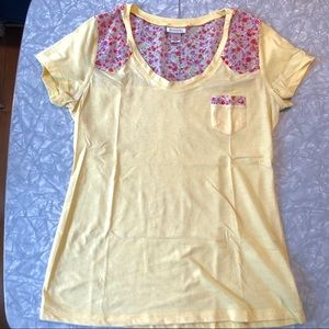 Yellow Floral Mossimo Pocket Tee